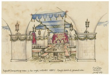 Design for an Elizabethan banqueting room to be installed in the crypt at Woburn Abbey (for Robin Howard's Elizabethan Rooms Ltd.)