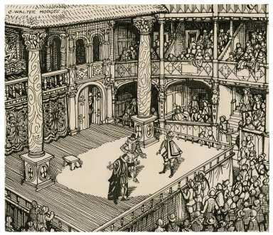 Illustration of the Merchant of Venice, act 1, sc. iii, being performed in an Elizabethan theatre