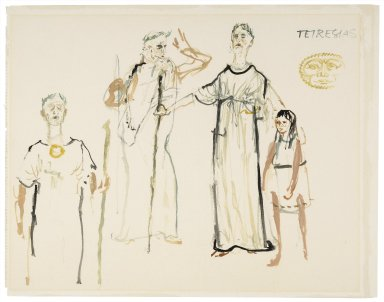 Oedipus Rex, costume drawings for Tiresias
