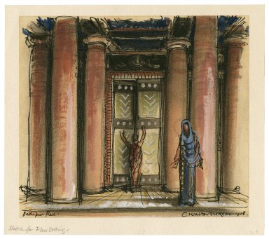 Oedipus Rex, the door of the palace, with Oedipus and Jocasta