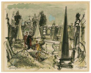 Hamlet, garden setting, graveyard