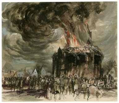 The fire at the Globe, 1613 (illustration for: Shakespeare's Theatre, 1964)