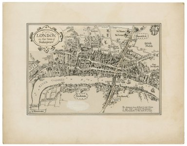 Pictorial map of London in the time of Shakespeare