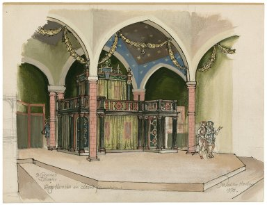 """St. Georges Theatre. The stage-houses in """"closed"""" formation, with figures"""