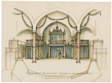 """St. Georges Theatre. Stage-houses in open formation """"Renaissance dress"""""""