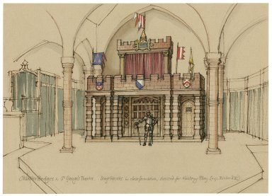 """St. Georges Theatre. Stage-houses in """"castle"""" dress"""
