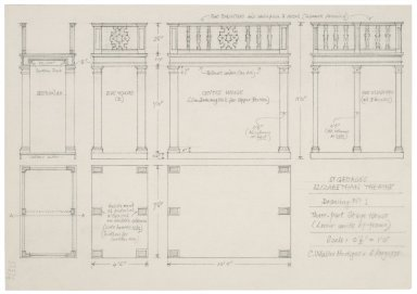 St. Georges Theatre, design for three-part stage-house (lover units of frame)
