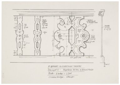 St. Georges Theatre, design for stage-house balustrade, detail