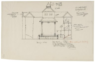 Elevation of an Elizabethan playhouse