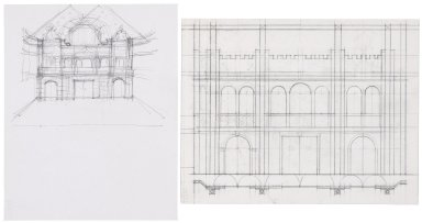 Interior sketch and sketch of architectural detail of the Detroit Globe