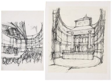 Sketches of the interior of the Globe Playhouse