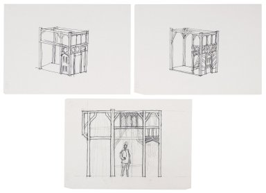 Preliminary set design sketches for Merry Wives of Windsor