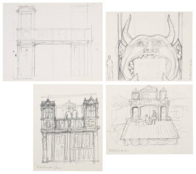 "Preliminary set design sketches for ""The devil is an ass"" (by Jonson)"