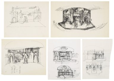 "Preliminary set design sketches for ""Woodstock"" (Anon.)"