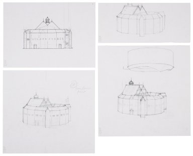 Elevation and exterior sketches of the Second Globe