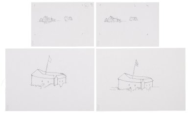 Exterior sketches of the Second Globe and the Bear Garden