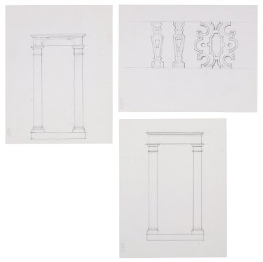 Design sketches for St. Georges Theatre, columns and architectural details