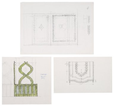 Design sketches for St. Georges Theatre, botanical motifs