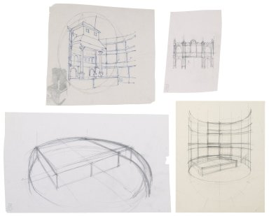 Sketches for Globe reconstruction, interior and architectural details