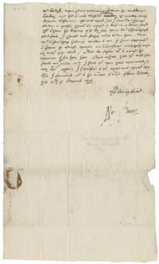Letter from Nathaniel Bacon to George? Leedys