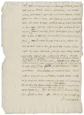 Letter from Nathaniel Bacon to Sir John Allham [i.e. Sir James Altham?]