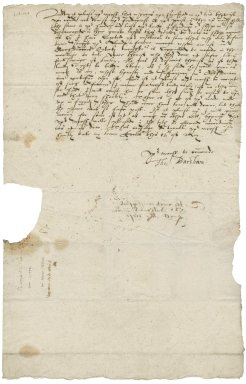 Letter from Thomas Barsham to Nathaniel Bacon