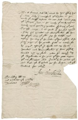 Agreement between Lady Anne (Bacon) Townshend and Thomas Buttes