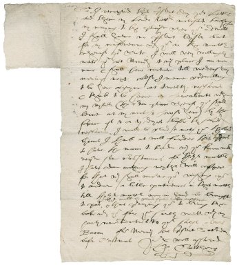 Letter from Charles Calthorpe to Nathaniel Bacon.