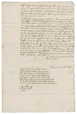 Letter from Martin Calthorpe to Nathaniel Bacon