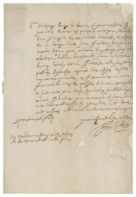 Letter from John Corbet to Roger Townshend, 1st bart