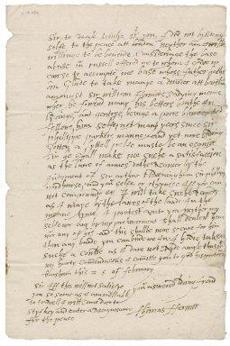 Letter from Thomas Farmer (i.e. Fermor) to Nathaniel Bacon