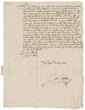 Letter from John Goodwin [(1594?-1665)?] to Roger Townshend, 1st bart.