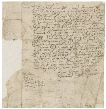 Letter from Robert Greene to Symonds [i.e. Symonds]