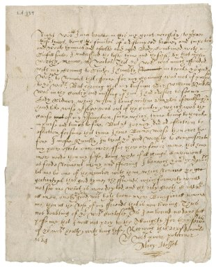 Letter from Mary Hasset to Roger Townshend, 1st bart.