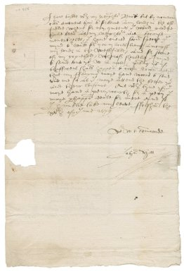 Letter from John Hoo to Nathaniel Bacon.