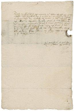 Letter from Thomas Hubbard [i.e. Hubbert] to Nathaniel Bacon