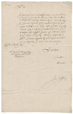 Letter from John Jeffray to Roger Townshend, 1st bart.