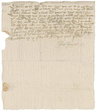 Letter from John Jennings [i.e. Jennyns] to Nathaniel Bacon