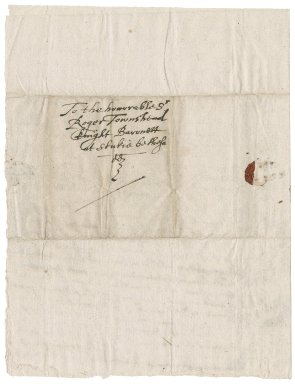 Letter from Richard Mason to Roger Townshend, 1st bart.