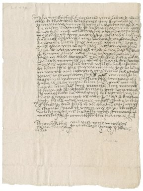 Letter from George Meares to Nathaniel Bacon