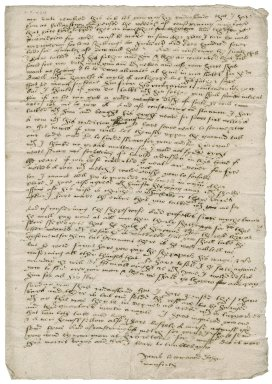 Letter from John Mounford [i.e. Munforth] to Nathaniel Bacon
