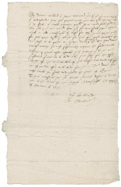 Letter from John Saunders, servant of Sir Thomas Gresham, to [Nathaniel Bacon]