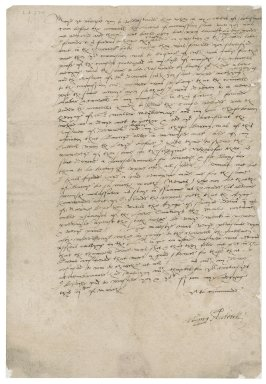 Letter from Henry Stutevile [i.e. Stutfield] to [Nathaniel Bacon]