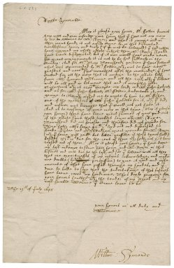 Letter from William Symonds to Lady Mary (de Vere) Fane, Countess of Westmorland