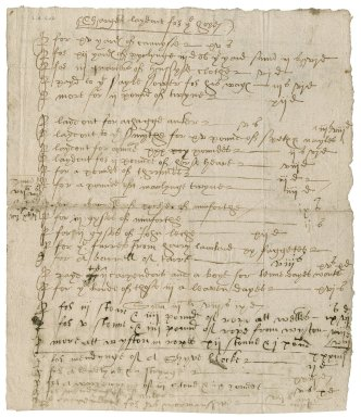 Account from Nathaniel Bacon for ship repairs and supplies