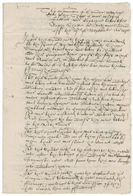 Deposition of Edmund Dowsing in the Hubbard piracy case overseen by Nathaniel Bacon and Ralph Shelton