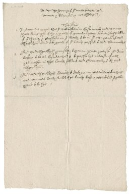 Memoranda from Nathaniel Bacon concerning a land dispute between William Warner, Adam Robinson, and Mr. Sholdham