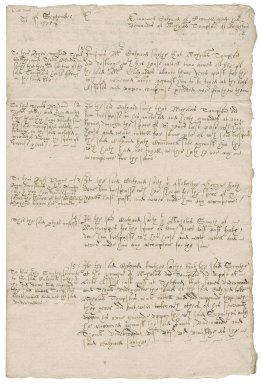 Notes by Nathaniel Bacon concerning Emanuell Calyard's demands on Nicholas Thompson