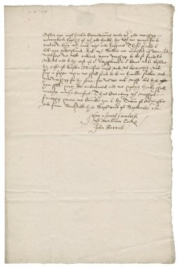 Request from William Cock and John Barrett that Nathaniel Bacon bestow a living on a preacher in their town