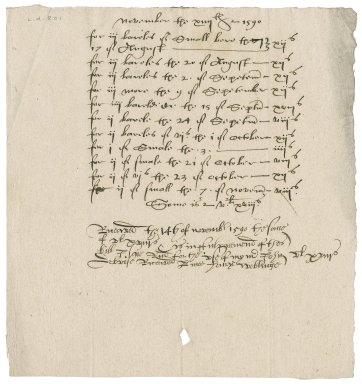 Brewer's bill to Lady Jane (Stanhope) Townshend